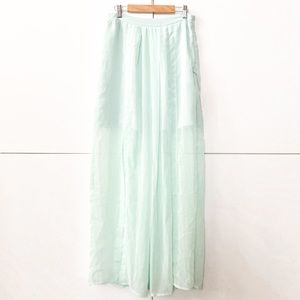 2/$25 Pleated Mint green Maxi Skirt with slits